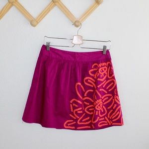 Beth bowley pink embroidered mini skirt